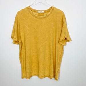FREE PEOPLE Clarity Ringer Tee S Oversized Yellow